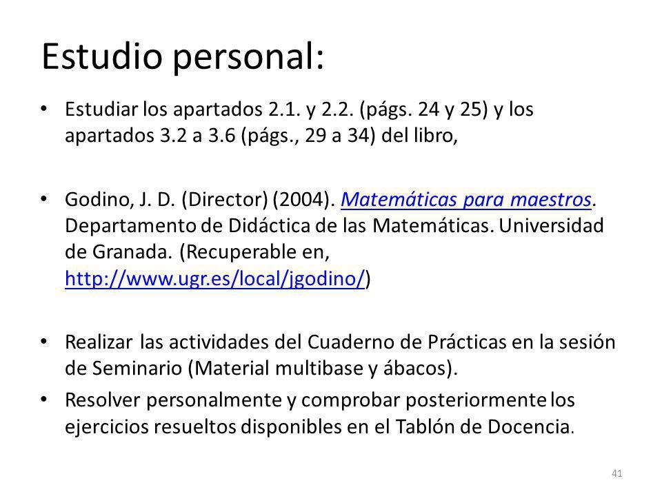 Estudio personal: Estudiar los apartados 2.1. y 2.2. (págs. 24 y 25) y los apartados 3.2 a 3.6 (págs., 29 a 34) del libro,