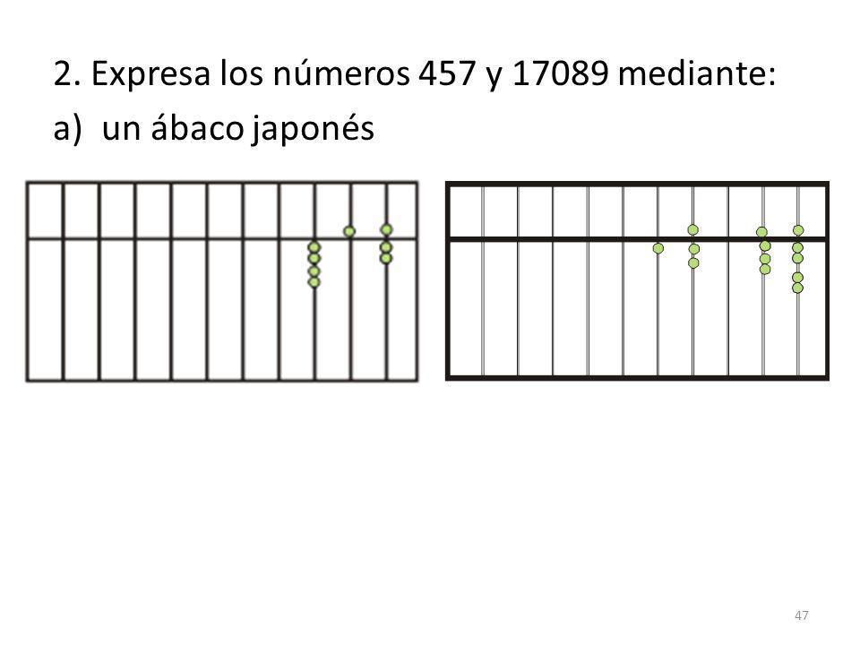 2. Expresa los números 457 y 17089 mediante: