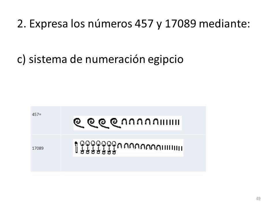 2. Expresa los números 457 y 17089 mediante: c) sistema de numeración egipcio