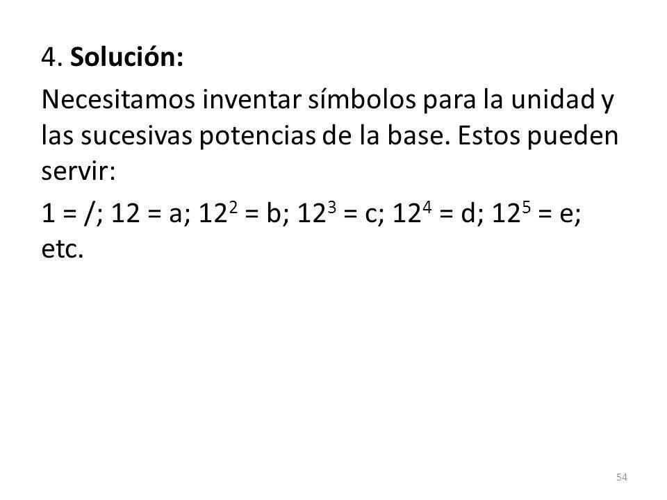 4. Solución: Necesitamos inventar símbolos para la unidad y las sucesivas potencias de la base.