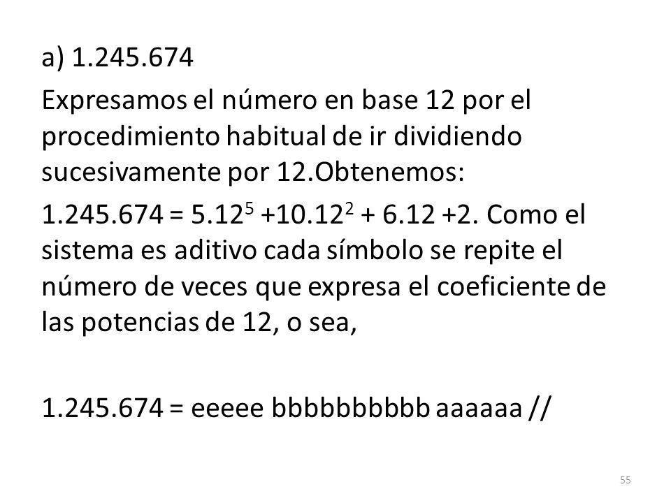a) 1.245.674 Expresamos el número en base 12 por el procedimiento habitual de ir dividiendo sucesivamente por 12.Obtenemos: 1.245.674 = 5.125 +10.122 + 6.12 +2.