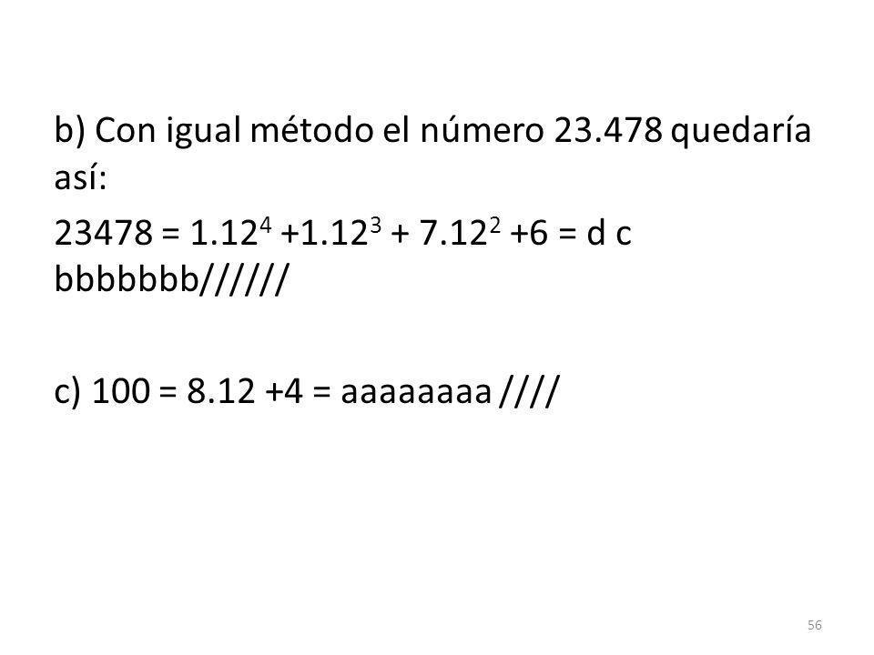 b) Con igual método el número 23. 478 quedaría así: 23478 = 1. 124 +1