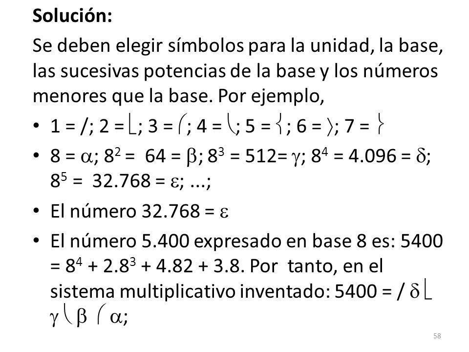 Solución: Se deben elegir símbolos para la unidad, la base, las sucesivas potencias de la base y los números menores que la base. Por ejemplo,
