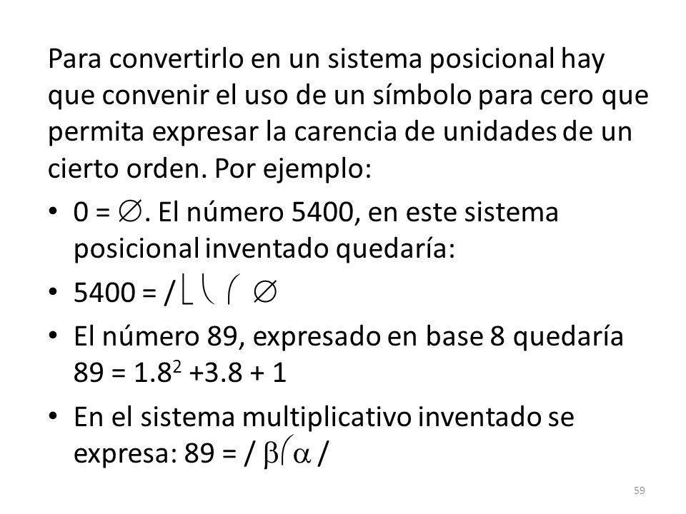 Para convertirlo en un sistema posicional hay que convenir el uso de un símbolo para cero que permita expresar la carencia de unidades de un cierto orden. Por ejemplo: