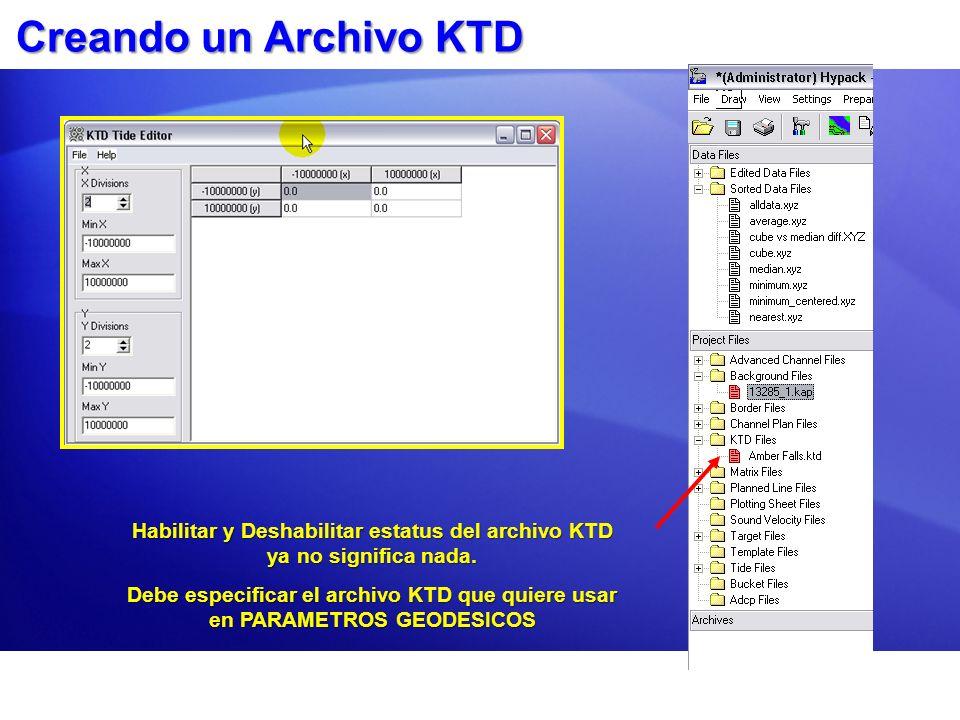 Habilitar y Deshabilitar estatus del archivo KTD ya no significa nada.