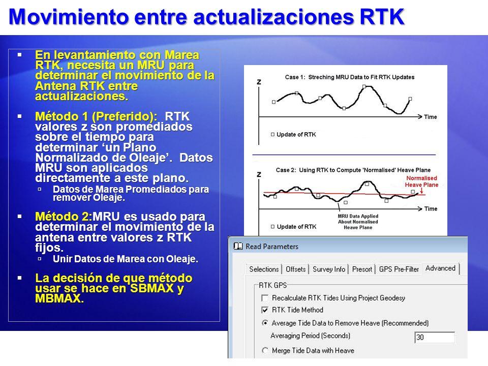 Movimiento entre actualizaciones RTK