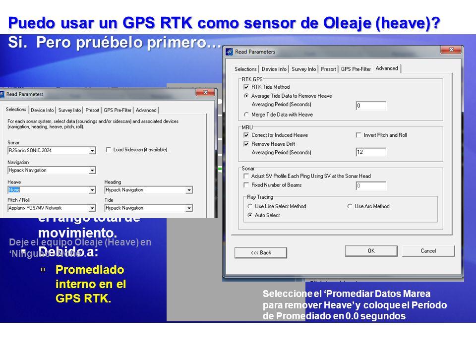 Rango mov. reportado por el GPS RTK