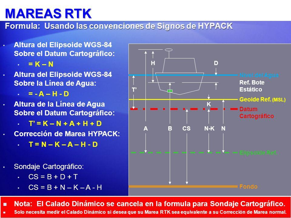 MAREAS RTK Formula: Usando las convenciones de Signos de HYPACK