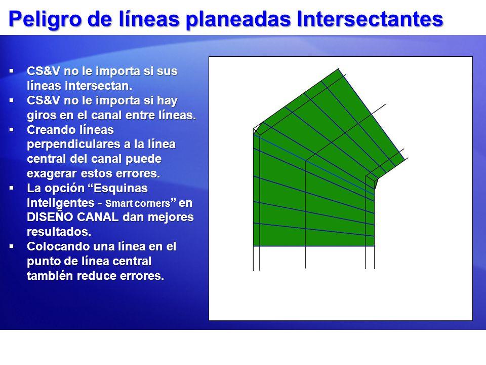 Peligro de líneas planeadas Intersectantes
