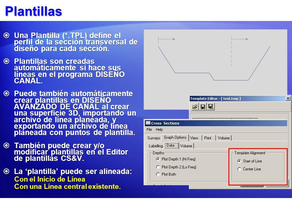 Plantillas Una Plantilla (*.TPL) define el perfil de la sección transversal de diseño para cada sección.