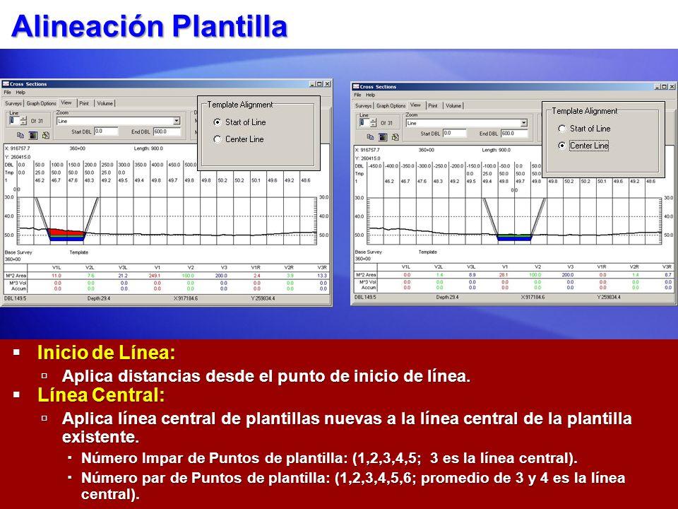 Alineación Plantilla Inicio de Línea: Línea Central: