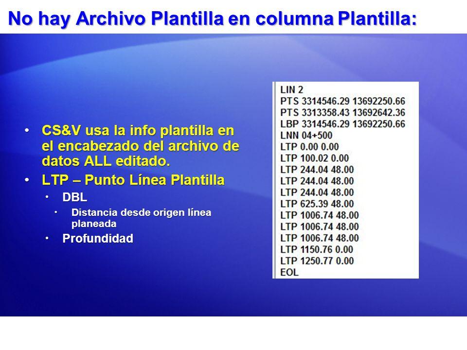 No hay Archivo Plantilla en columna Plantilla: