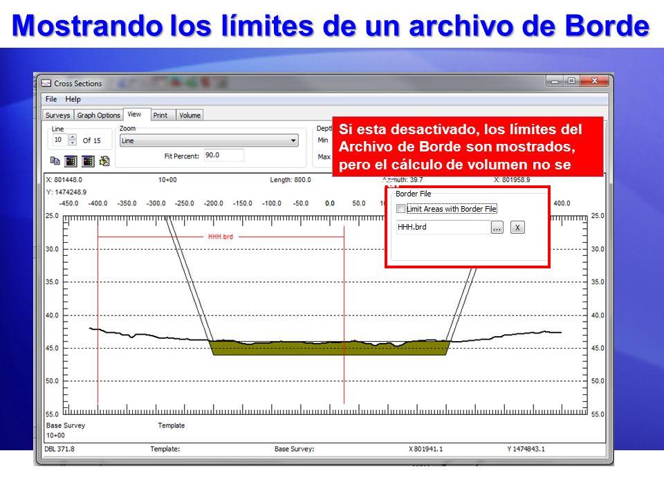 Mostrando los límites de un archivo de Borde