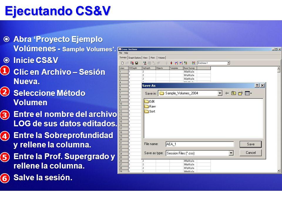 Ejecutando CS&V Abra 'Proyecto Ejemplo Volúmenes - Sample Volumes'.