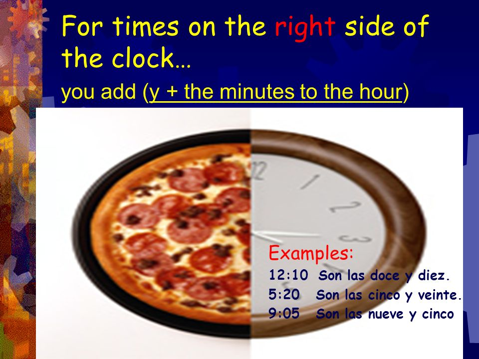 For times on the right side of the clock…