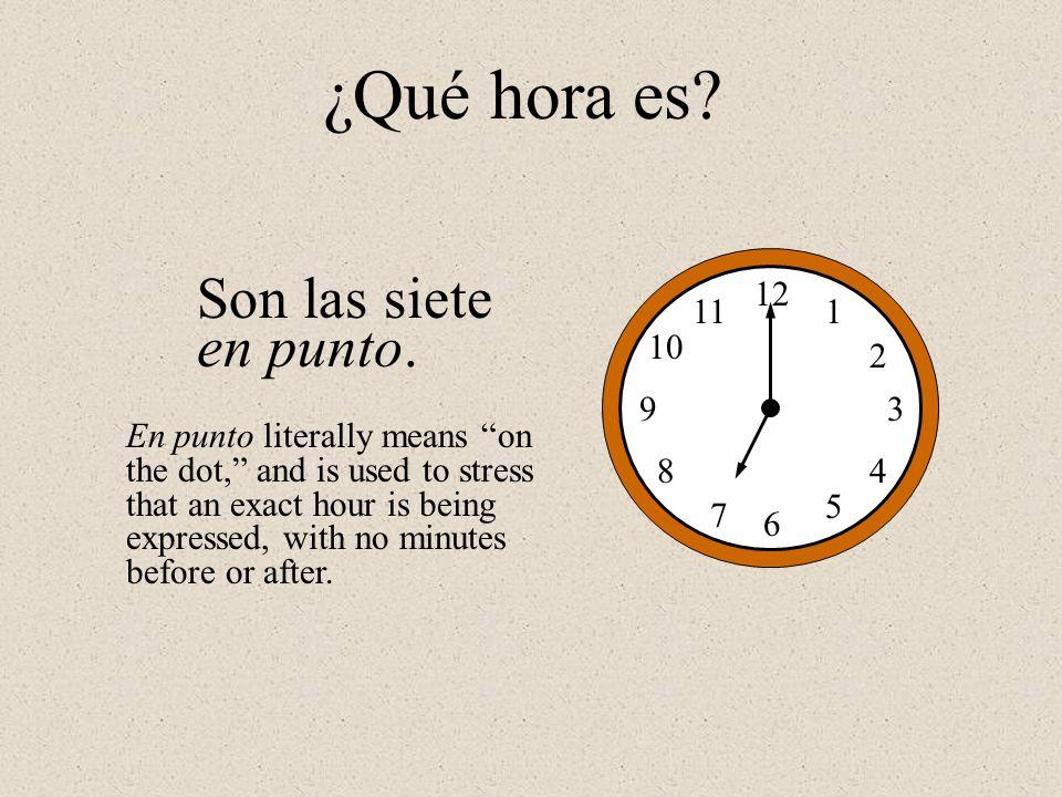 ¿Qué hora es Son las siete en punto. 12 1 2 3 4 5 6 7 8 9 10 11