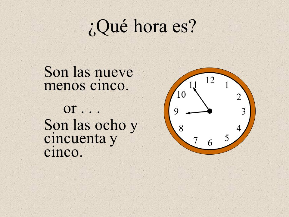 ¿Qué hora es Son las nueve menos cinco. or . . .