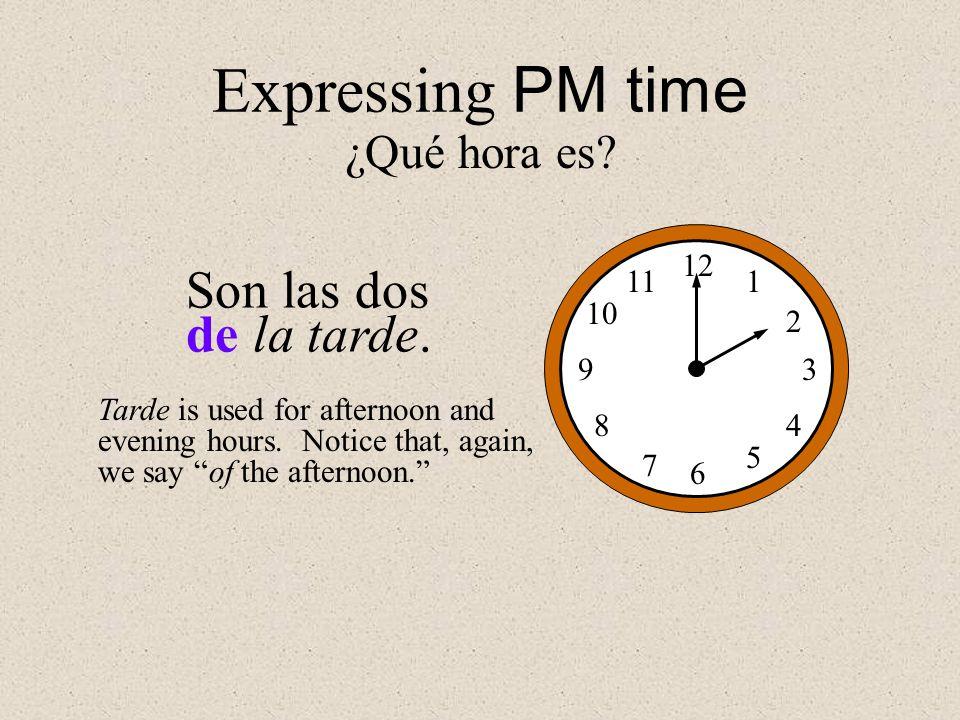 Expressing PM time Son las dos de la tarde. ¿Qué hora es 12 1 2 3 4 5