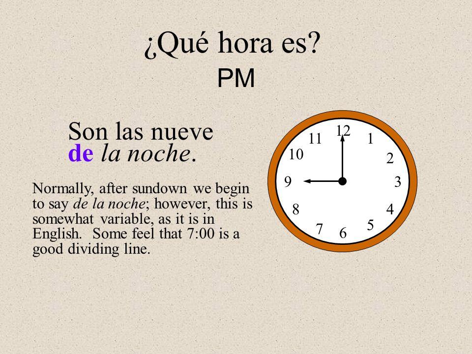 ¿Qué hora es PM Son las nueve de la noche. 12 1 2 3 4 5 6 7 8 9 10 11