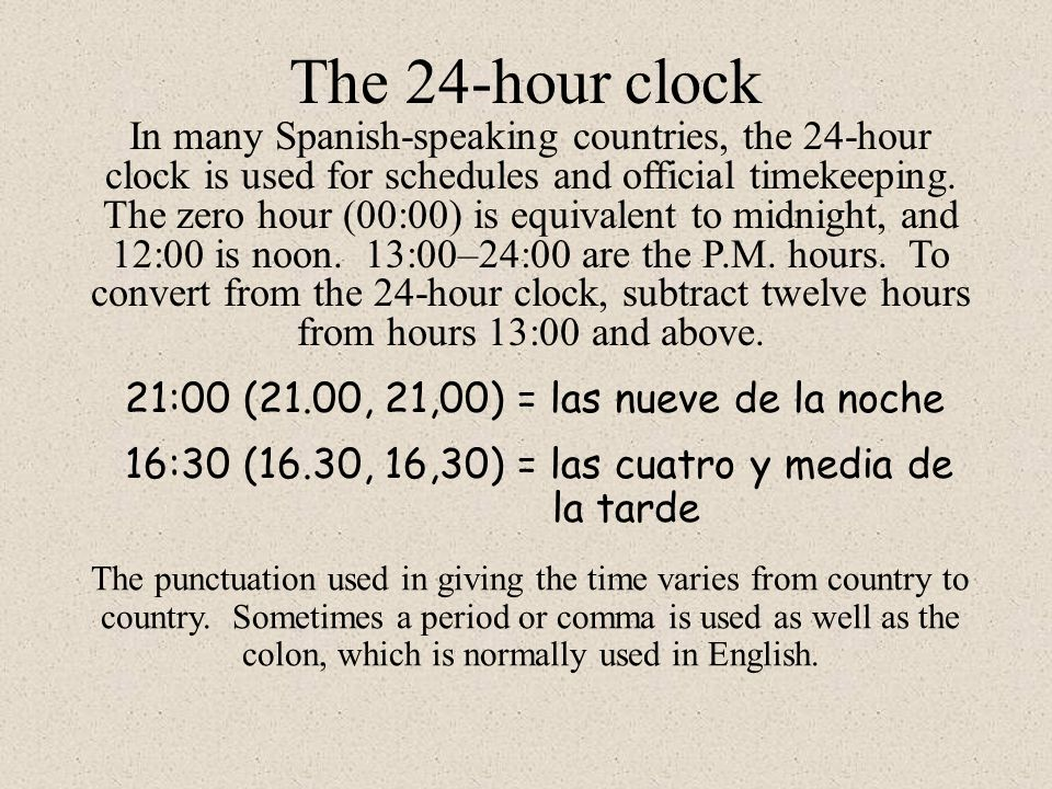 The 24-hour clock