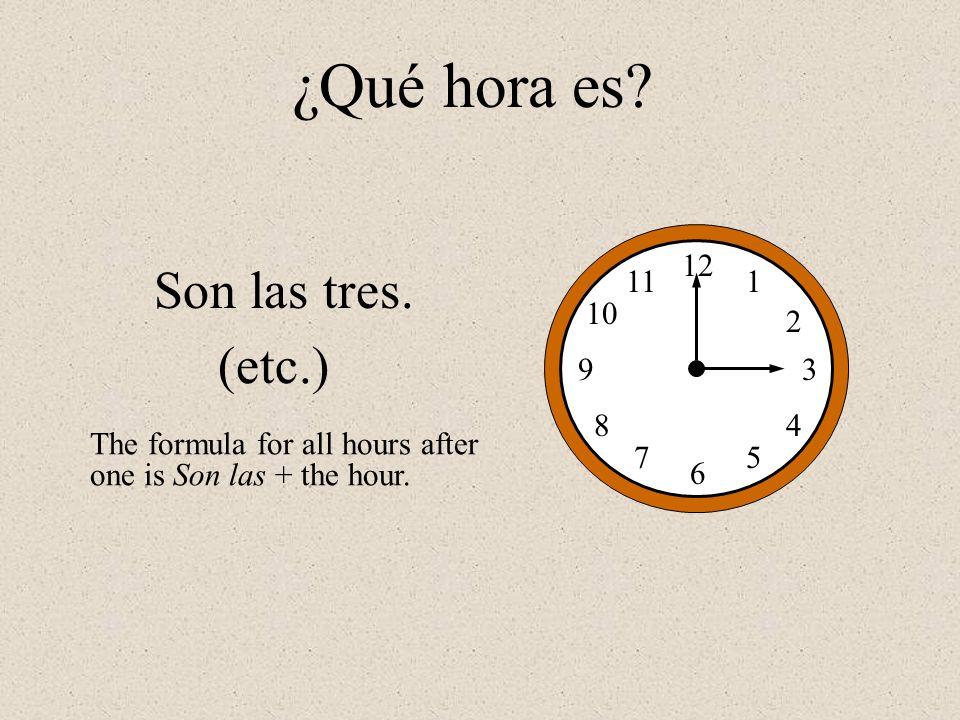 ¿Qué hora es Son las tres. (etc.) 12 1 2 3 4 5 6 7 8 9 10 11