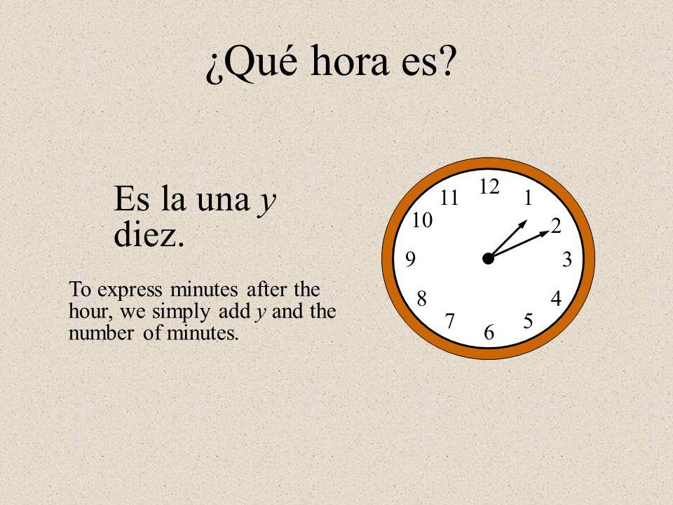 ¿Qué hora es Es la una y diez. 12 1 2 3 4 5 6 7 8 9 10 11