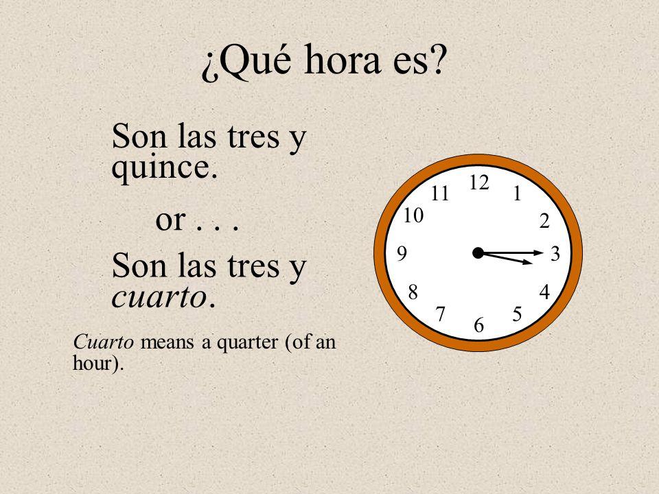 ¿Qué hora es Son las tres y quince. or . . . Son las tres y cuarto.
