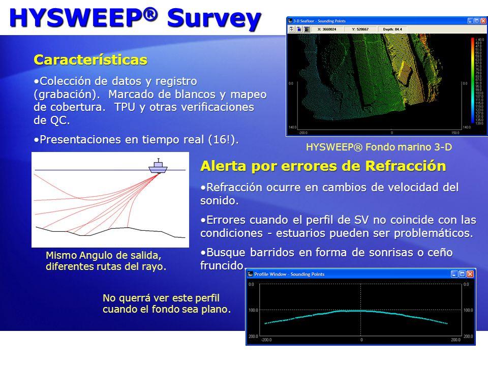 HYSWEEP® Survey Características Alerta por errores de Refracción