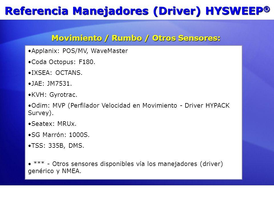 Referencia Manejadores (Driver) HYSWEEP®
