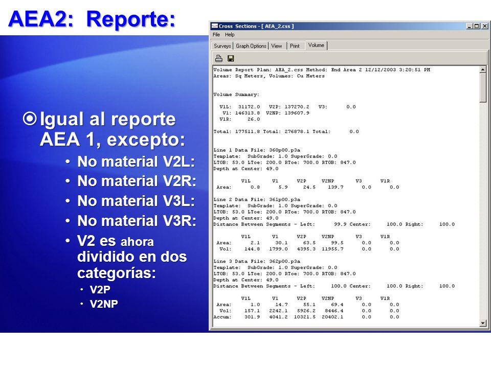 AEA2: Reporte: Igual al reporte AEA 1, excepto: No material V2L:
