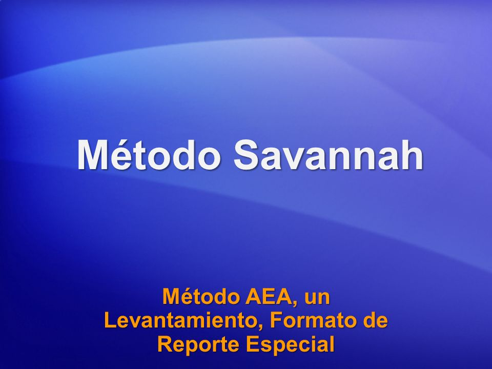 Método AEA, un Levantamiento, Formato de Reporte Especial