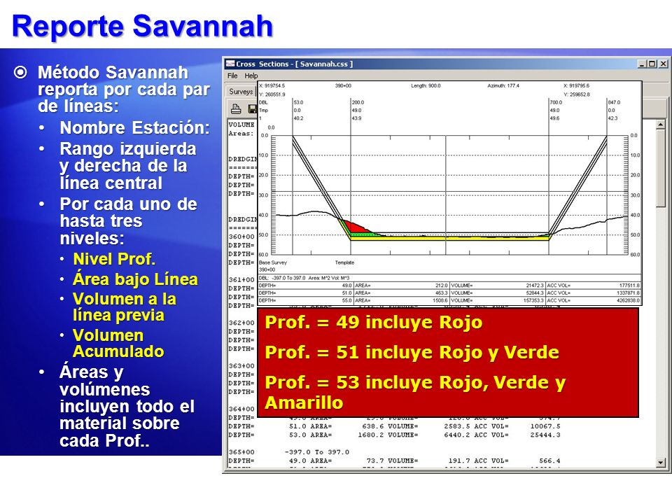 Reporte Savannah Método Savannah reporta por cada par de líneas:
