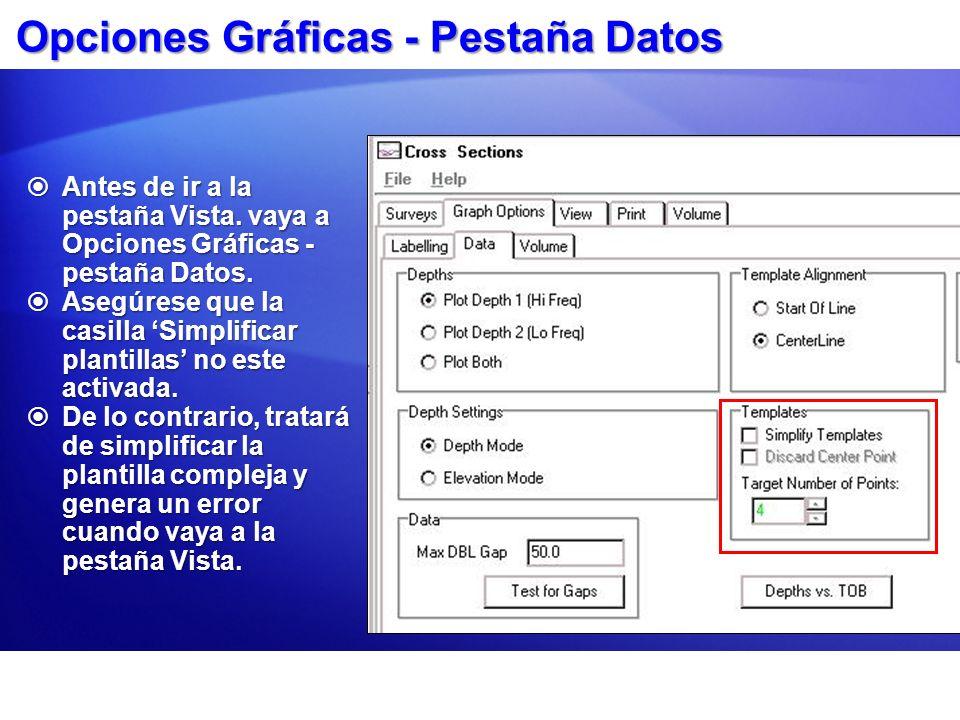 Opciones Gráficas - Pestaña Datos
