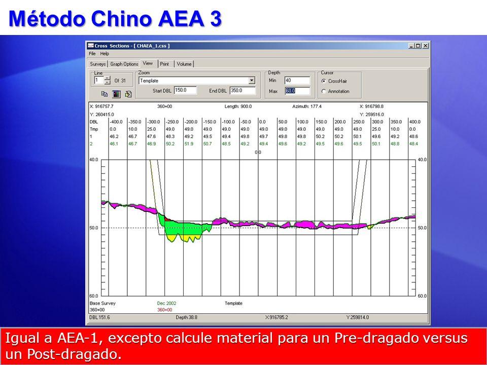 Método Chino AEA 3Igual a AEA-1, excepto calcule material para un Pre-dragado versus un Post-dragado.