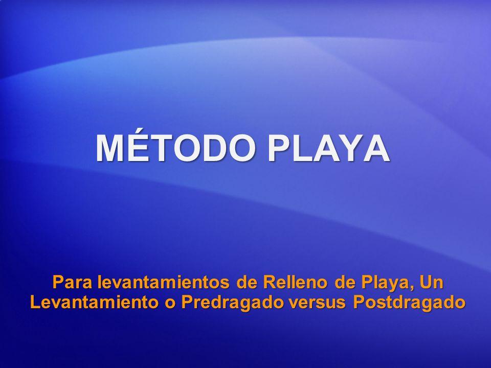 MÉTODO PLAYAPara levantamientos de Relleno de Playa, Un Levantamiento o Predragado versus Postdragado.