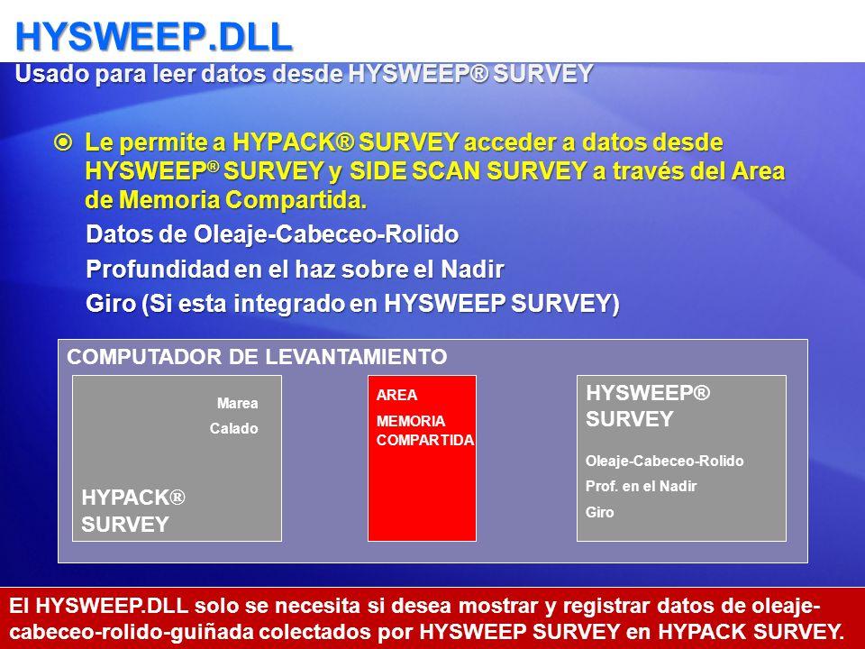 HYSWEEP.DLL Usado para leer datos desde HYSWEEP® SURVEY