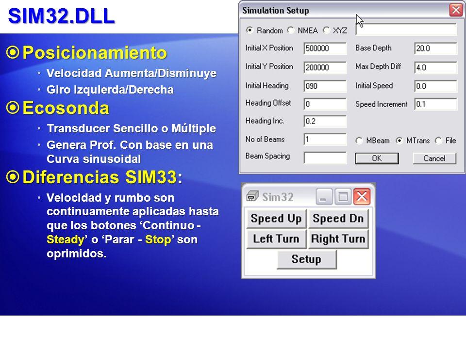 SIM32.DLL Posicionamiento Ecosonda Diferencias SIM33: