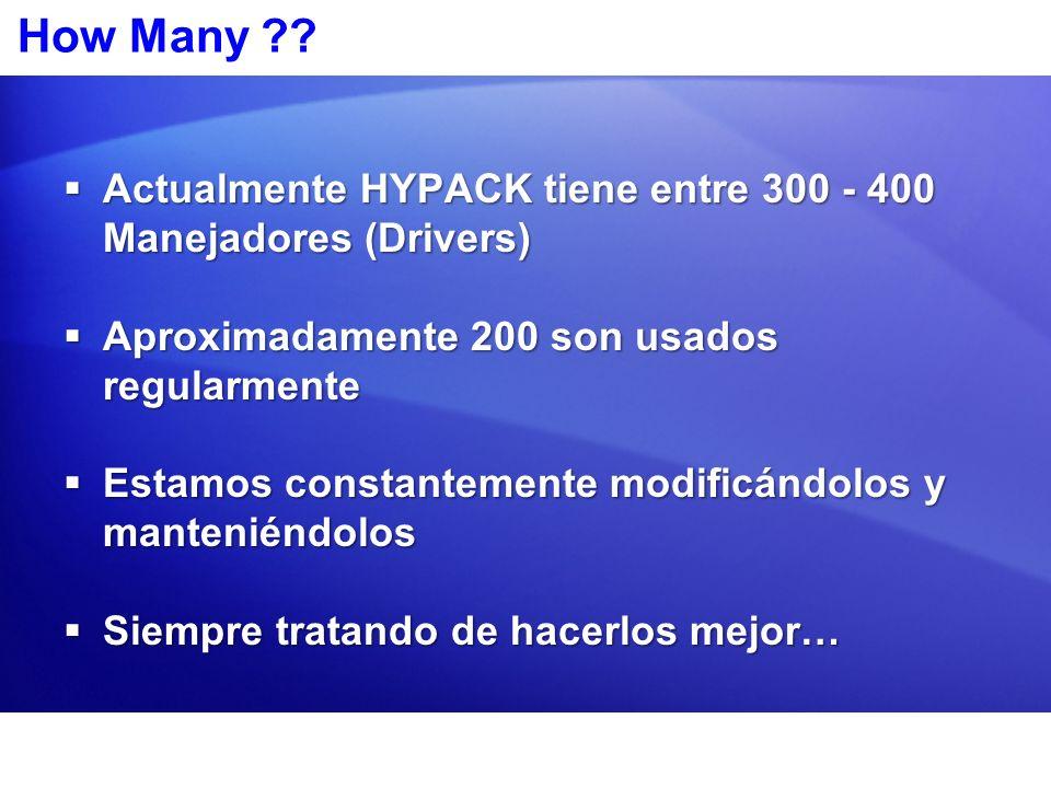 How Many Actualmente HYPACK tiene entre 300 - 400 Manejadores (Drivers) Aproximadamente 200 son usados regularmente.