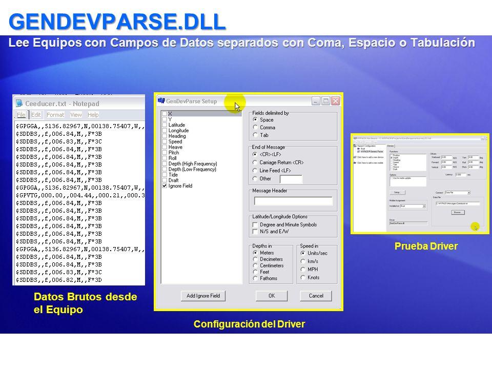 GENDEVPARSE.DLL Lee Equipos con Campos de Datos separados con Coma, Espacio o Tabulación