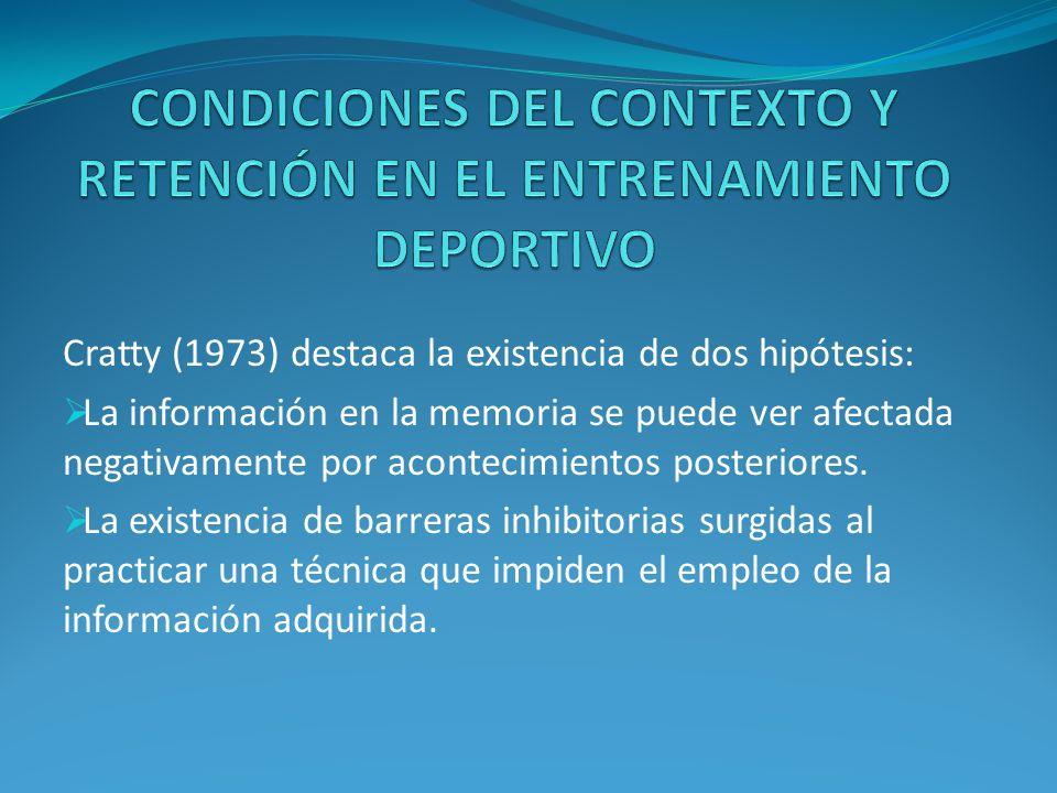 CONDICIONES DEL CONTEXTO Y RETENCIÓN EN EL ENTRENAMIENTO DEPORTIVO