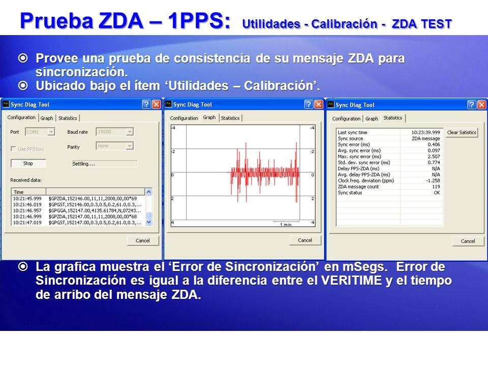 Prueba ZDA – 1PPS: Utilidades - Calibración - ZDA TEST