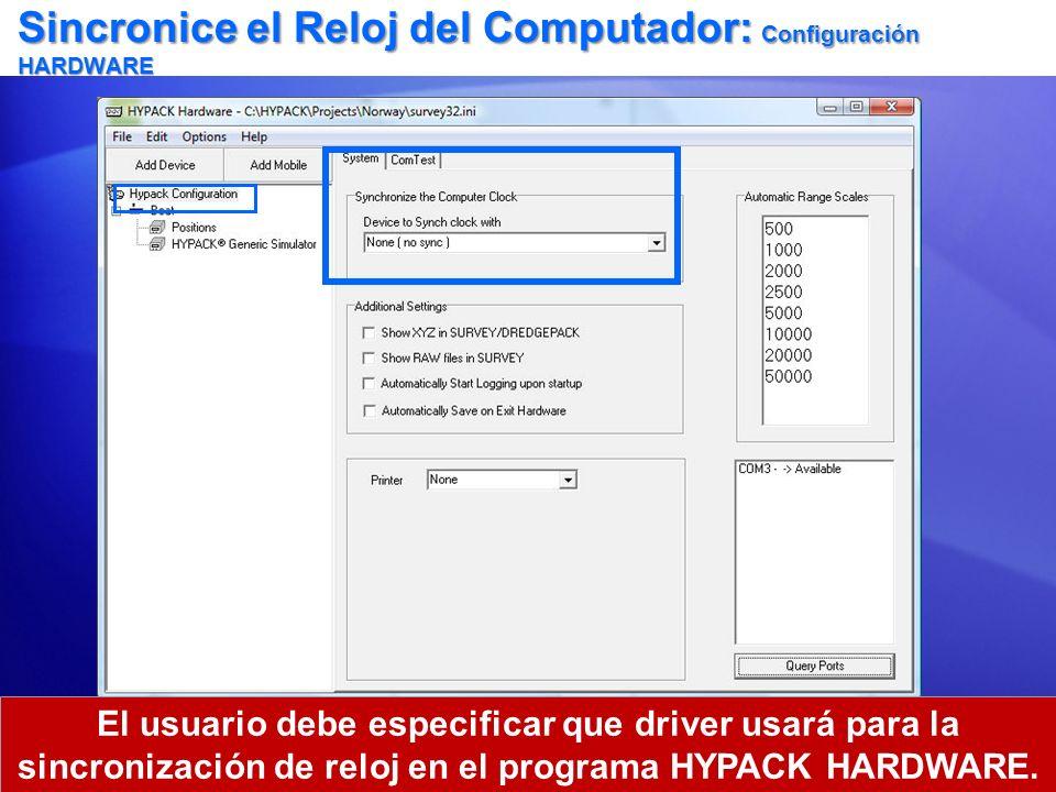 Sincronice el Reloj del Computador: Configuración HARDWARE