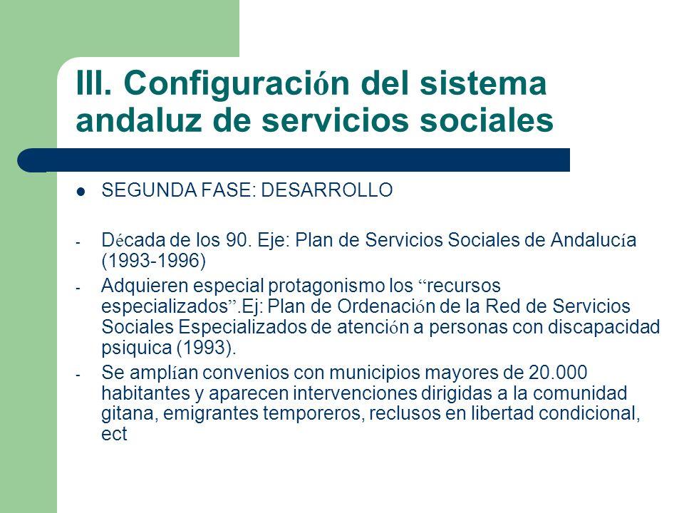 III. Configuración del sistema andaluz de servicios sociales