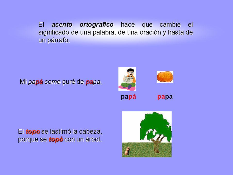 El acento ortográfico hace que cambie el significado de una palabra, de una oración y hasta de un párrafo.
