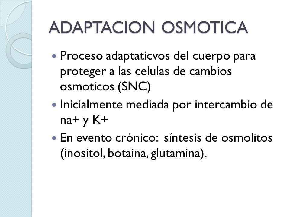 ADAPTACION OSMOTICA Proceso adaptaticvos del cuerpo para proteger a las celulas de cambios osmoticos (SNC)