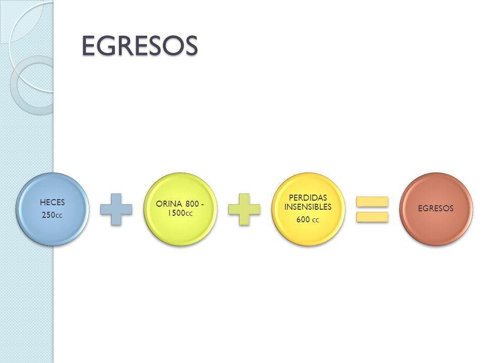 EGRESOS 250cc HECES ORINA 800 -1500cc PERDIDAS INSENSIBLES 600 cc