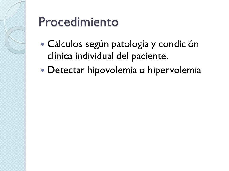 Procedimiento Cálculos según patología y condición clínica individual del paciente.