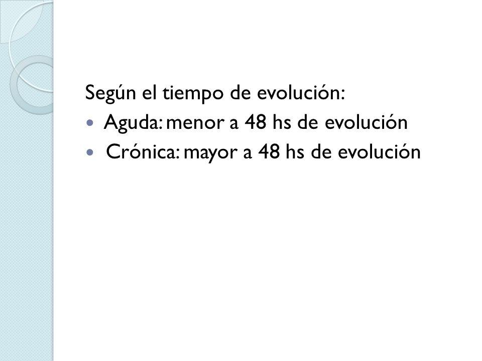 Según el tiempo de evolución: