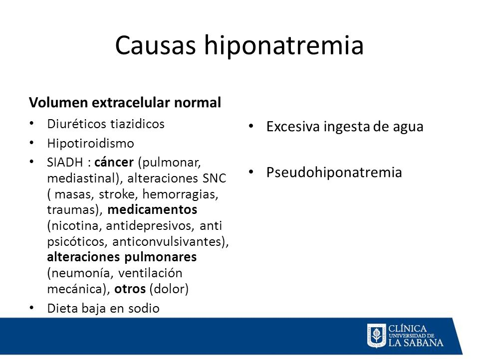 Causas hiponatremia Volumen extracelular normal