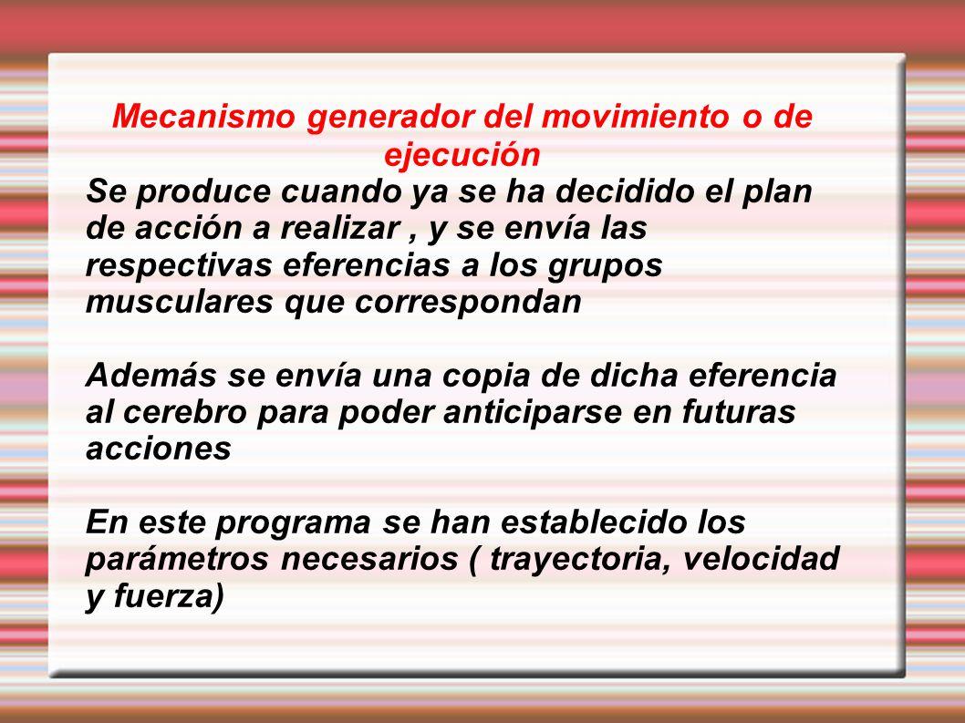 Mecanismo generador del movimiento o de ejecución